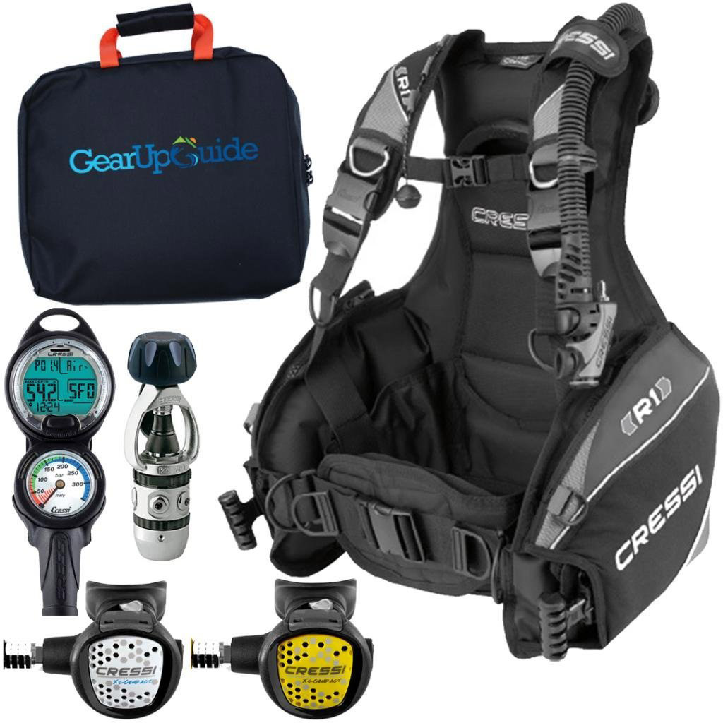 Cressi R1 BCD Leonardo Dive Computer AC2 Compact Regulator Set GupG Reg BagScuba Diving Package